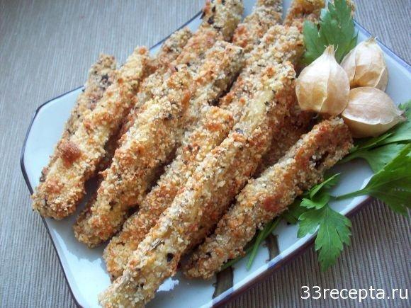 Баклажанные палочки с сыром в духовке - рецепт пошаговый с фото